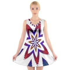 Fractal Flower V Neck Sleeveless Skater Dress