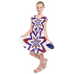 Fractal Flower Kids  Short Sleeve Dress