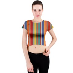 Stripes Background Colorful Crew Neck Crop Top