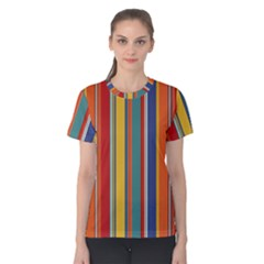 Stripes Background Colorful Women s Cotton Tee