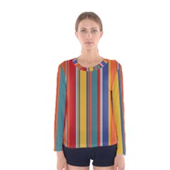 Stripes Background Colorful Women s Long Sleeve Tee