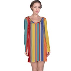 Stripes Background Colorful Long Sleeve Nightdress