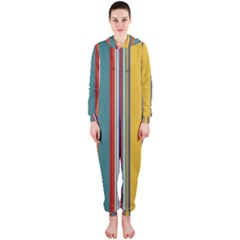 Stripes Background Colorful Hooded Jumpsuit (Ladies)