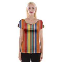 Stripes Background Colorful Women s Cap Sleeve Top