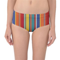 Stripes Background Colorful Mid-Waist Bikini Bottoms