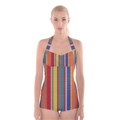 Stripes Background Colorful Boyleg Halter Swimsuit
