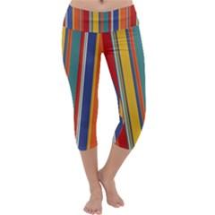 Stripes Background Colorful Capri Yoga Leggings