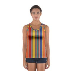 Stripes Background Colorful Women s Sport Tank Top