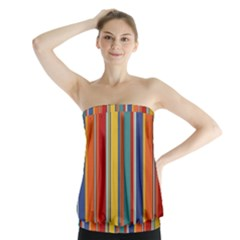 Stripes Background Colorful Strapless Top