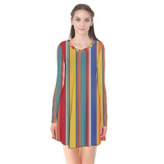 Stripes Background Colorful Flare Dress