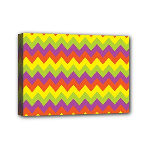Colorful Zigzag Stripes Background Mini Canvas 7  X 5