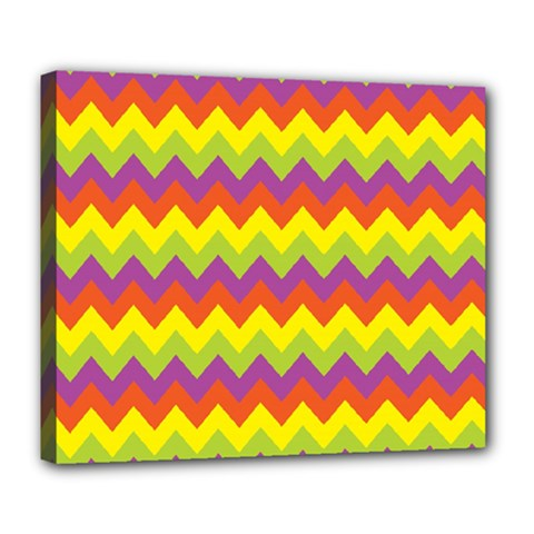 Colorful Zigzag Stripes Background Deluxe Canvas 24  x 20