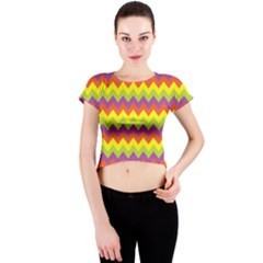 Colorful Zigzag Stripes Background Crew Neck Crop Top
