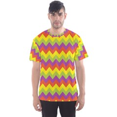 Colorful Zigzag Stripes Background Men s Sport Mesh Tee