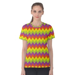 Colorful Zigzag Stripes Background Women s Cotton Tee