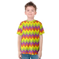 Colorful Zigzag Stripes Background Kids  Cotton Tee