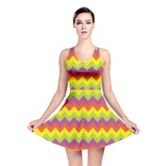 Colorful Zigzag Stripes Background Reversible Skater Dress