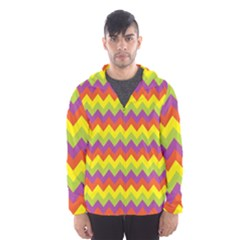 Colorful Zigzag Stripes Background Hooded Wind Breaker (Men)
