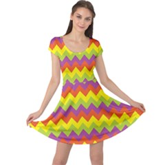Colorful Zigzag Stripes Background Cap Sleeve Dresses