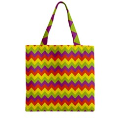 Colorful Zigzag Stripes Background Zipper Grocery Tote Bag