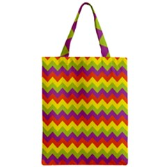 Colorful Zigzag Stripes Background Zipper Classic Tote Bag