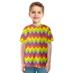 Colorful Zigzag Stripes Background Kids  Sport Mesh Tee