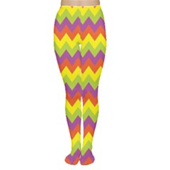 Colorful Zigzag Stripes Background Women s Tights