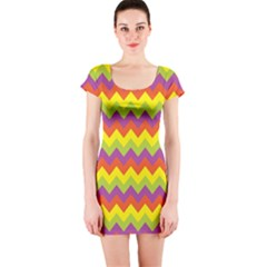 Colorful Zigzag Stripes Background Short Sleeve Bodycon Dress