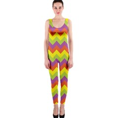 Colorful Zigzag Stripes Background Onepiece Catsuit