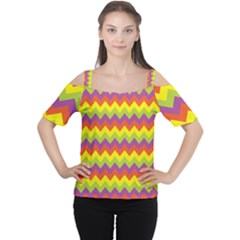 Colorful Zigzag Stripes Background Women s Cutout Shoulder Tee