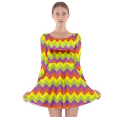 Colorful Zigzag Stripes Background Long Sleeve Skater Dress