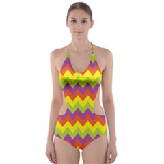 Colorful Zigzag Stripes Background Cut-Out One Piece Swimsuit