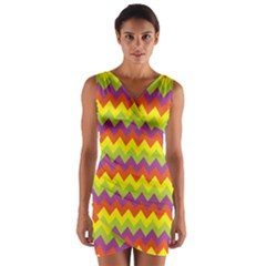 Colorful Zigzag Stripes Background Wrap Front Bodycon Dress