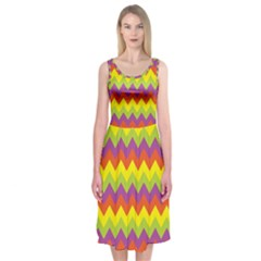 Colorful Zigzag Stripes Background Midi Sleeveless Dress