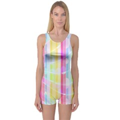 Abstract Stripes Colorful Background One Piece Boyleg Swimsuit