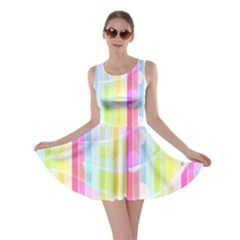 Abstract Stripes Colorful Background Skater Dress