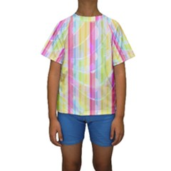 Abstract Stripes Colorful Background Kids  Short Sleeve Swimwear