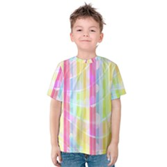 Abstract Stripes Colorful Background Kids  Cotton Tee
