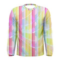 Abstract Stripes Colorful Background Men s Long Sleeve Tee