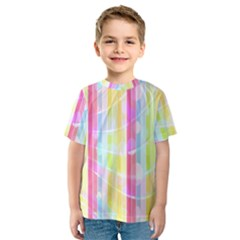 Abstract Stripes Colorful Background Kids  Sport Mesh Tee