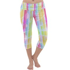 Abstract Stripes Colorful Background Capri Yoga Leggings