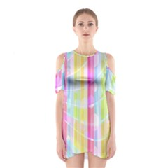 Abstract Stripes Colorful Background Shoulder Cutout One Piece