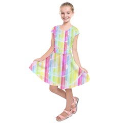 Abstract Stripes Colorful Background Kids  Short Sleeve Dress