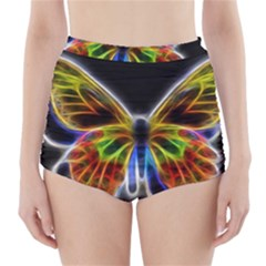 Fractal Butterfly High-Waisted Bikini Bottoms