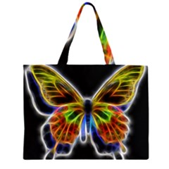 Fractal Butterfly Zipper Large Tote Bag