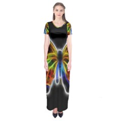 Fractal Butterfly Short Sleeve Maxi Dress