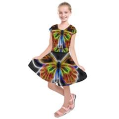 Fractal Butterfly Kids  Short Sleeve Dress