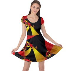 Fractal Ribbons Cap Sleeve Dresses