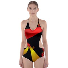 Fractal Ribbons Cut-Out One Piece Swimsuit