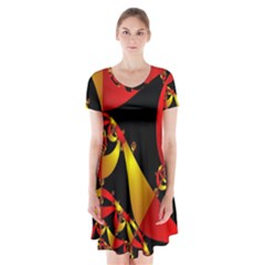 Fractal Ribbons Short Sleeve V-neck Flare Dress